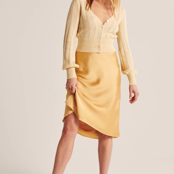 Gold Satin Midi Skirt